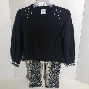 Girls Black Sweatshirt with Snake Skin Leggings